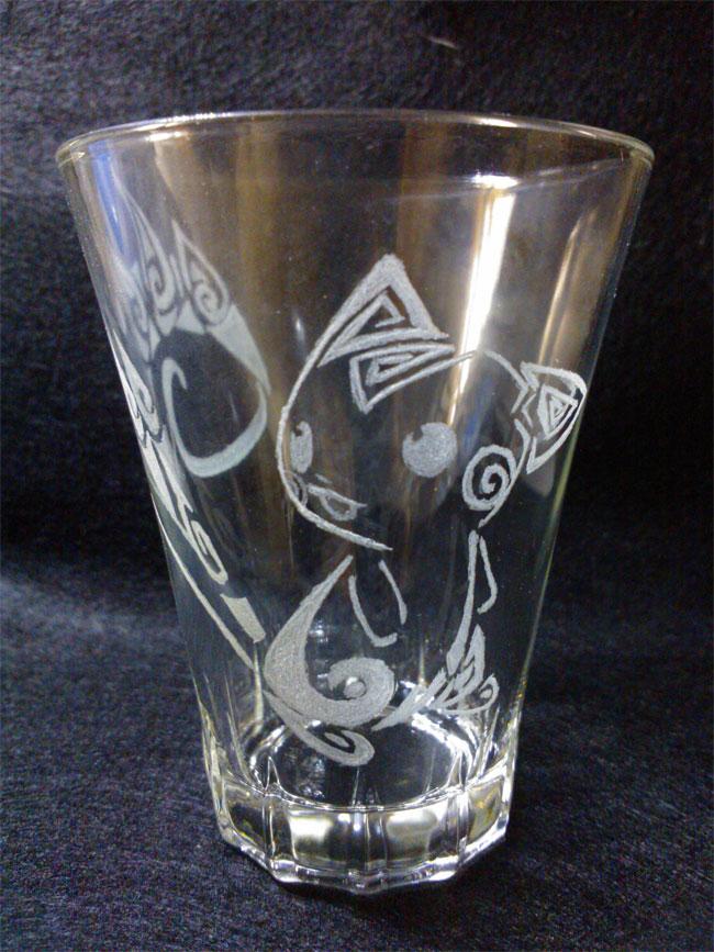 bicchiere incisione vetro pachirisu