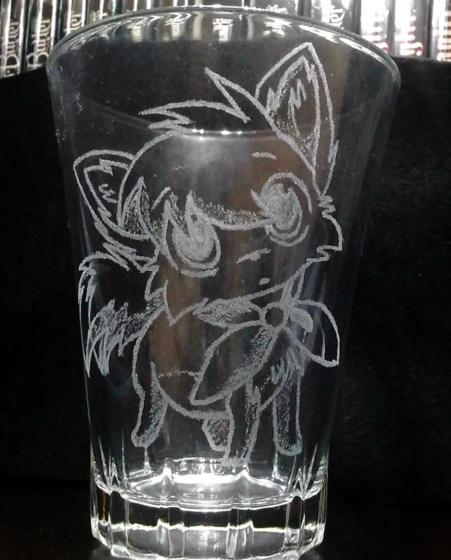 Bicchiere con incisione volpe