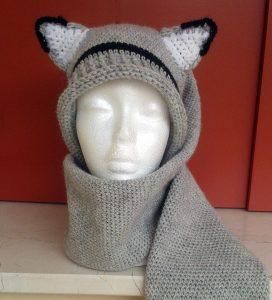 sciarpa cappello con orecchie da volpe