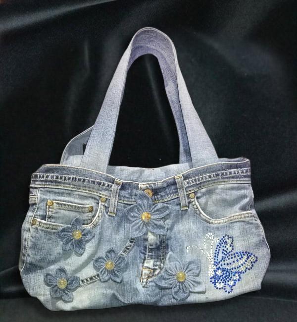 borsa di jeans con fiori